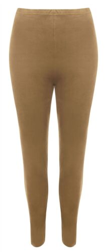Womens Suede Look Elasticated Waist Full Length Legging Ladies Stretch Legging
