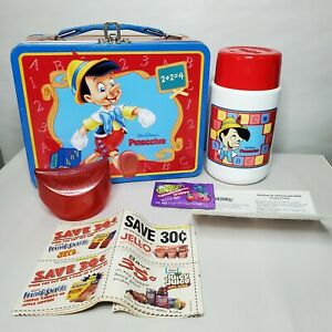 Walt-Disney-s-Pinocchio-1998-Metal-Lunchbox-and-Thermos-Pringles-Chip-Container