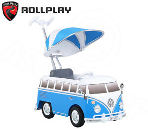 cb30e00f24 VW Type 2 Bus Minibus Split Screen Push-Car Ride-On Blue with Sounds ...