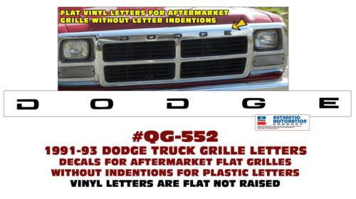 DODGE FLAT GRILLE LETTERS DECAL LICENSED QG-552 1991-93 DODGE TRUCK