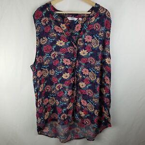 1defae95ada Great Northwest Indigo Womens Plus Shirt Size 3X Floral Sleeveless ...
