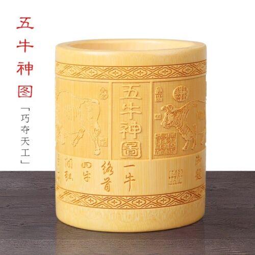 Natural Bamboo Sculpture Pen Holder Round Storage Solution Multi Use Art 竹雕刻笔筷筒