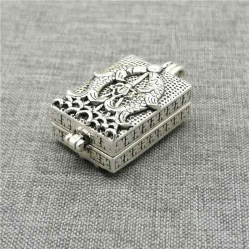 925 Sterling Silver Lotus Flower Locket Pendant Double Fish Prayer Wish Box