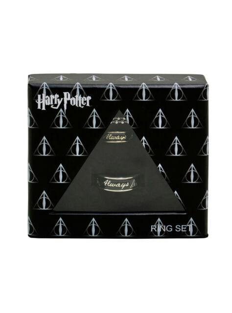 Harry Potter Always Hers Size 7 His Size 10 Boxed Ring Necklace Gift Set New