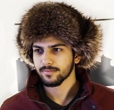 Fur Hat with Ears Russian Ushanka for Men and Women Real Raccoon Cap for Sale