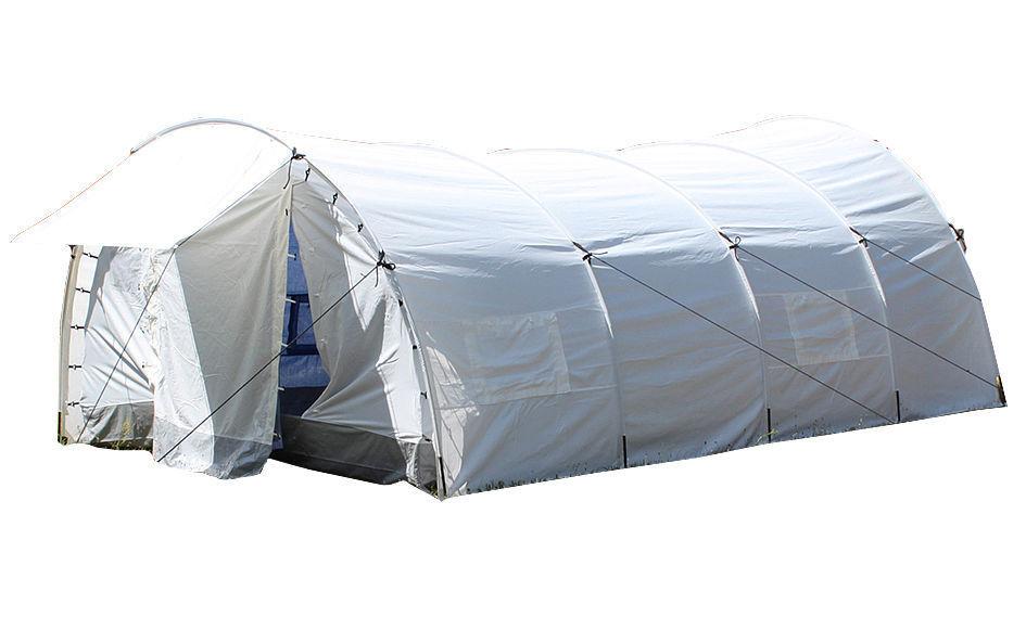 Mil-Tec UN Zelt Dome m. Gruppenzelt Innenzelt Tunnelzelt Gruppenzelt m. Großzelt Weiß 5,5x3,45m f5f286