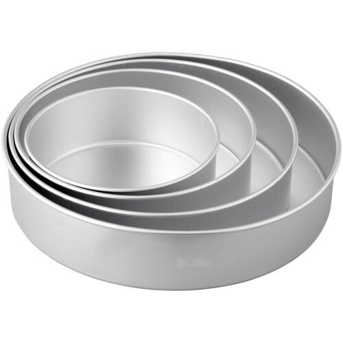 Round Cake Pan Set 8in 10in 12in 4 Piece Baking Layer Deep Dish Wedding Party