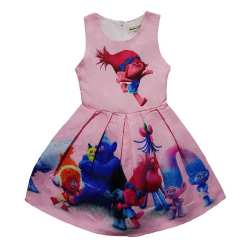 New Girls Skate Dress Kids Film Trolls Poppy Princess Costume Summer Party Dress