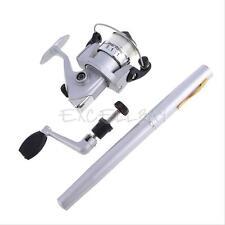 Mini Aluminum Alloy Pocket Pen Fishing Rod Pole Reel + Line Silver Portable