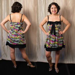 bfc588a75d29 Details about Betsey Johnson Swim S Black Bow yellow wht FLORAL print  chiffon Baby doll dress