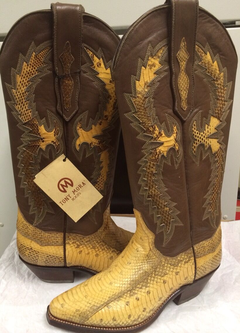 Tony Mora  Western Boots Womens Tan snake Leather  814 Size 4  New