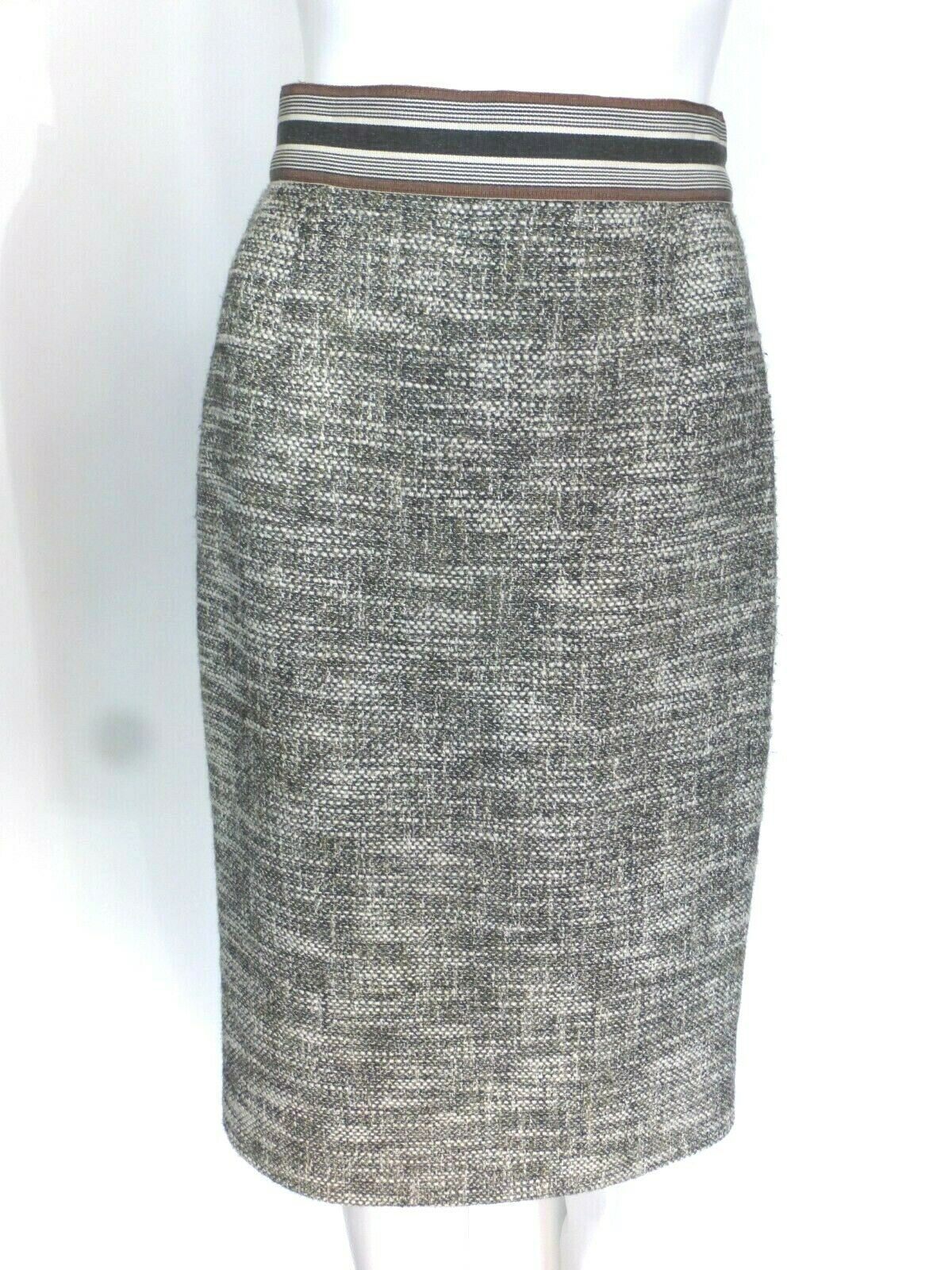 Giamattista Valli Multi-color Green Tweed Pencil Skirt Sz 8  Eu 44