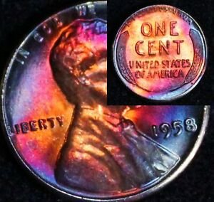 UNCIRCULATED-1958-P-BU-49d-VIBRANT-Rainbow-MONSTER-Toned-Penny-Wheat-Cent