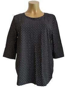 Nuevo-Talla-Especial-Mujer-Stretch-Camiseta-Negro-con-Lunares-3-4-Longitud-Del