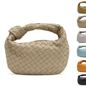 Woven-Real-Leather-Mini-Rounded-Draped-Knot-Pouch-Hobo-Bag-Purse-Clutch-Tote
