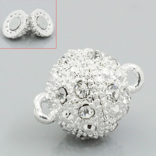 Wholesale Lots Silver Plated Rhinestone Ball Magnetic Clasps 18mmx12mm