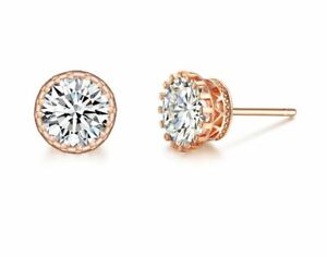 2 Ct Cz Cubic Zirconia Earrings Rose Gold Gp Round Cut Studs Ebay