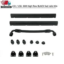 For Ls1 Ls6 8an High Flow Black Fuel Rails With Fittings Amp Crossover Hose Fits Corvette