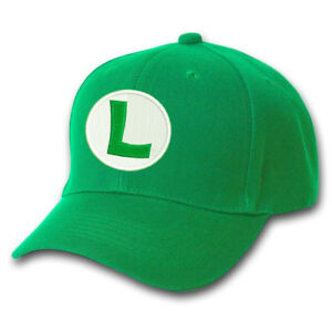 db087d8ba2011 SUPER MARIO LUIGI BROS GREEN LOGO EMBROIDERED BASEBALL CAP HALLOWEEN ...