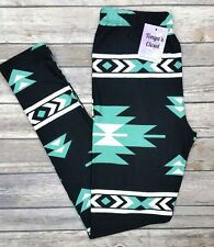 Mint Black Aztec Leggings Multi Colored Geometric Printed ONE SIZE OS