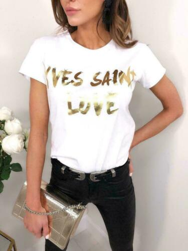 Women Celebrity Designer Inspired Casual Loose Top Ladies T-Shirt Slogan Stripes