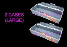 2 x Large Empty Case Brush Nail Utlility Box Single Compartment 70052C