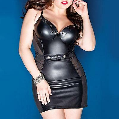 D9 - 1X 2X 3X Plus Size Mesh PVC Faux Leather Studs Club Mini Dress Black