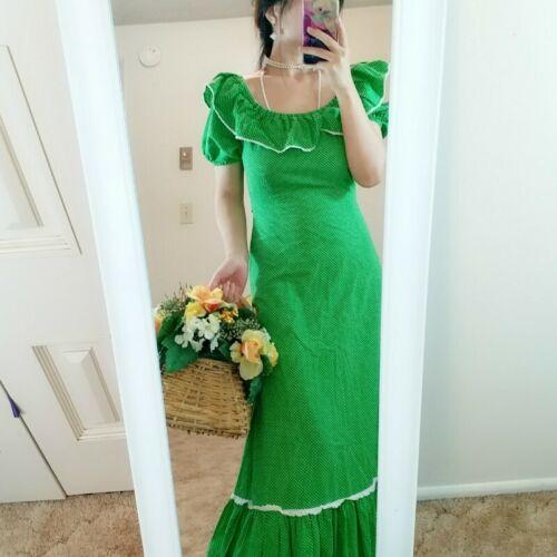 ASIS Vintage Dress Sweet SWISS DOT GREEN POLKA DOT