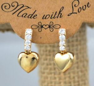 0-25-CT-Prong-Set-Round-Cut-Diamond-Heart-Drop-Earrings-Solid-14k-Yellow-Gold-GP