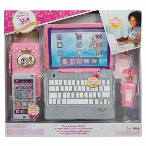 Disney Princess Work Like Mum//Dad Role Play Set Laptop Mobile Phone Gift Toy 3+