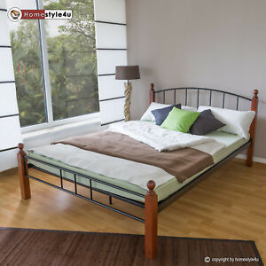 design metal lit double king cadre de lit lattes bois neuf 915 ebay. Black Bedroom Furniture Sets. Home Design Ideas