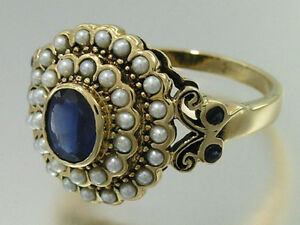 C797-Genuine-9ct-Gold-Natural-Sapphire-amp-Pearl-Tiered-Cluster-Ring-in-your-size