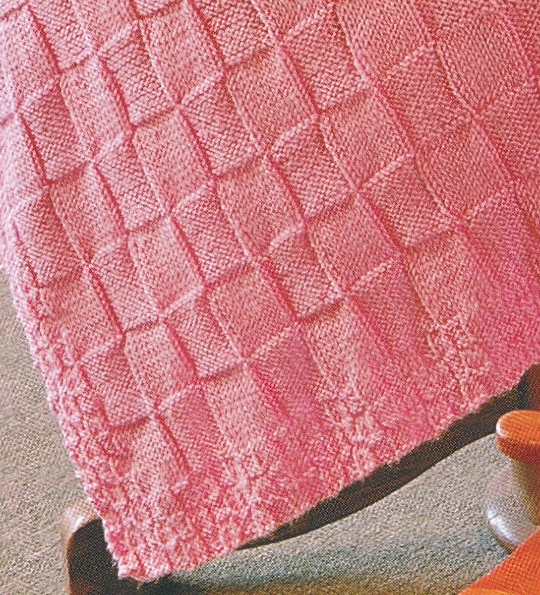 Easy Simple Plain/Purl Block Square Aran Baby Blanket 34