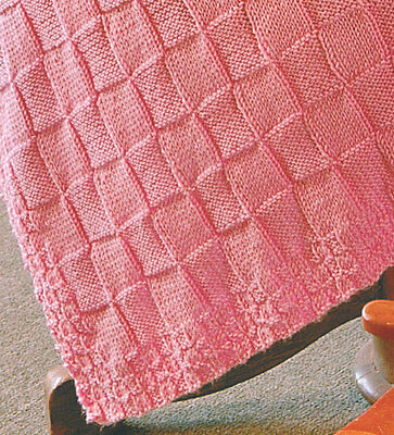 "Easy Simple Plain/Purl Block Square Aran Baby Blanket 34"" x 45"" Knitting Pattern"