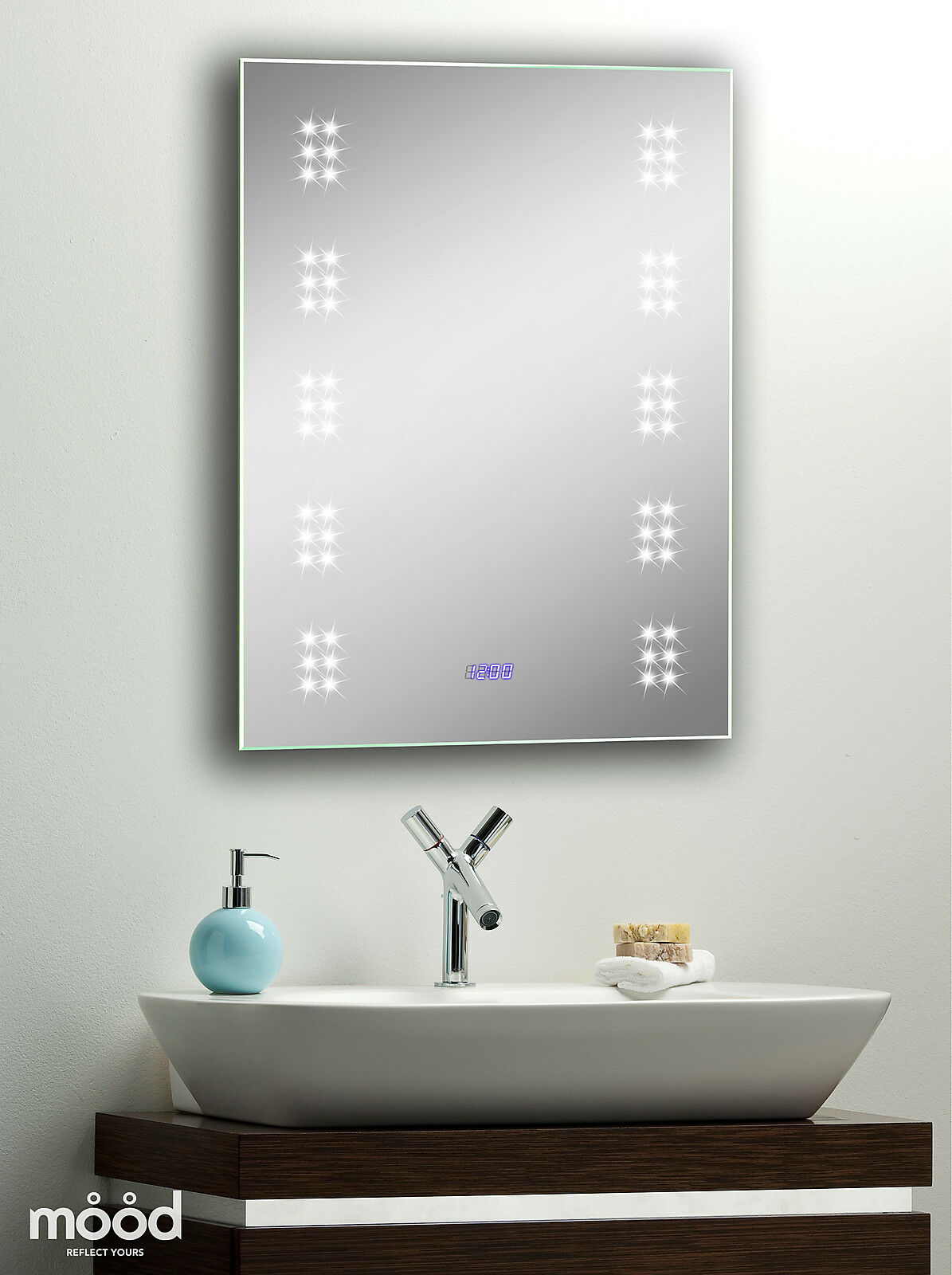 Bathroom Wall Mirror Led Illuminated With Clock Shaver Sensor Demister 70x50