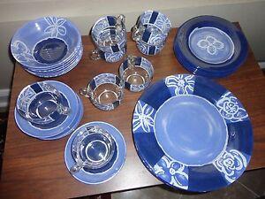 VINTAGE ARCOROC ARCOPAL FRANCE GLASS BLUE FLORAL 16 PC.DINNER SET ...