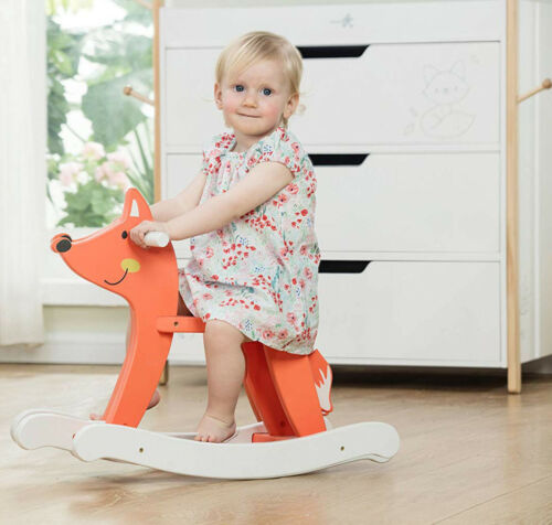 DIY White Pony Wooden Rocking Horse Toys Kids Playroom Ride on Rocker Play Gifts