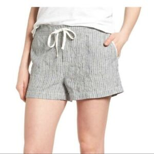 CASLON-Linen-Ivory-Black-Seaside-Stripe-Shorts-Size-XXL-NWT-Summer-Vacation