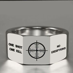 12MM One Shot and No Exceptions 3-Facets Tungsten Carbide Ring Sniper Sign