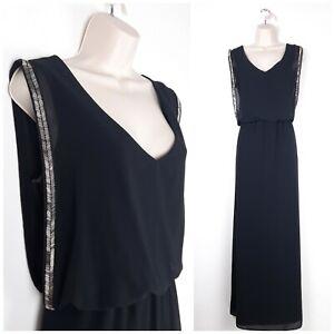 Next-Black-Long-Floaty-Sheer-Maxi-Dress-UK12-Beaded-Grecian-Style-Occasion-Party