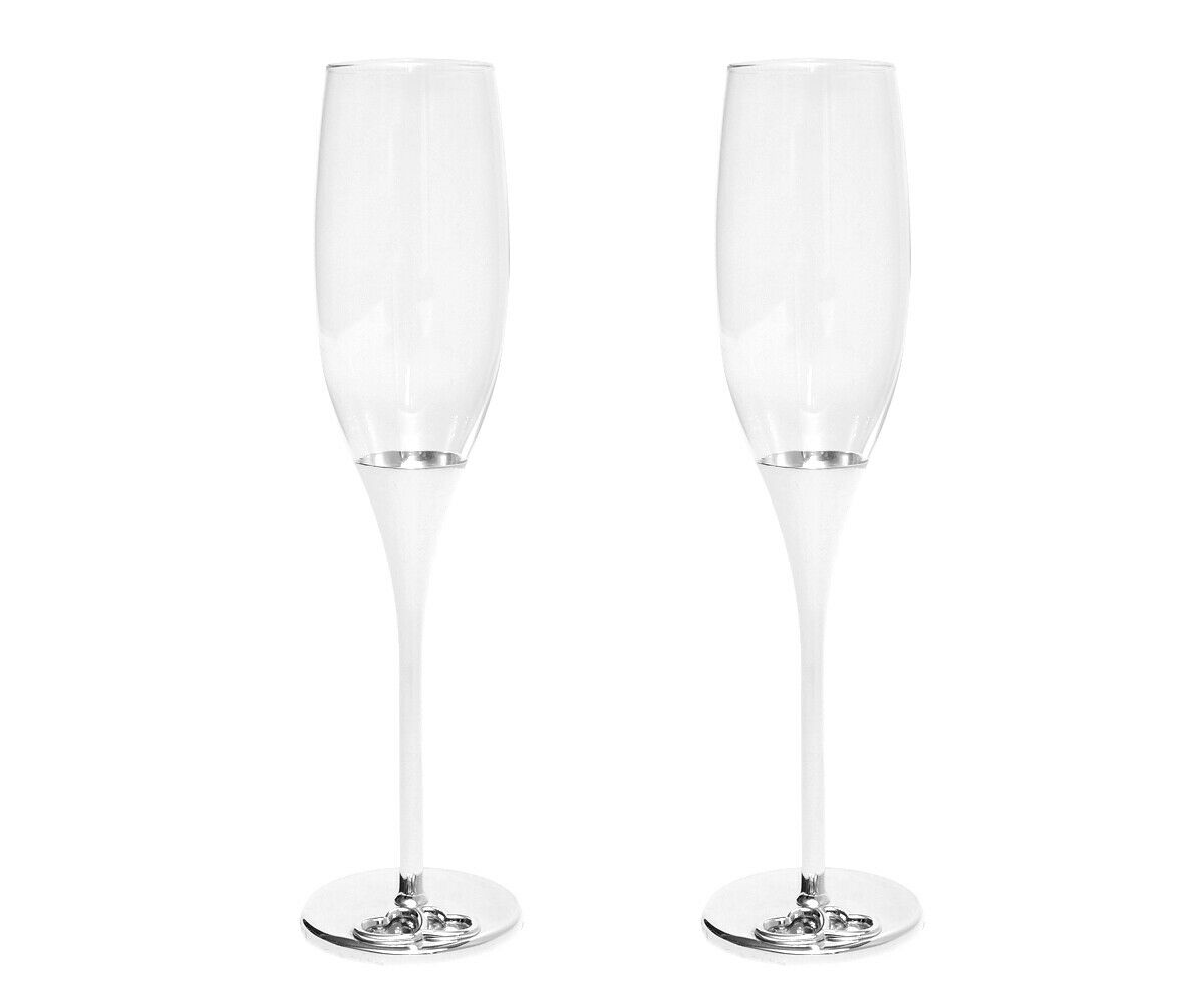 Verres de Champagne Coeur Verres à Champagne Argenté Laqué 2's Set Flutes