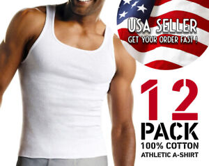 GREAT-DEAL-Men-039-s-Undershirt-Tank-Top-PACK-OF-12-Athletic-A-shirt-100-Cotton