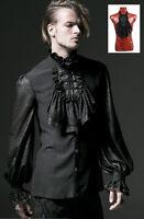 Chemise Jabot Baroque Gothique Dandy Victorien Bi-matière Homme Punkrave Noir