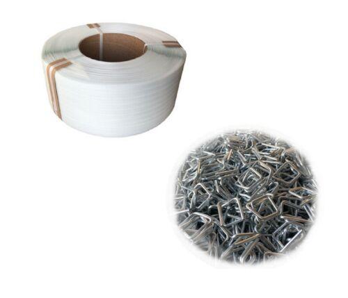 1000 x Metall-Klemmen 2400 Meter Verpackungsband PP 12 mm   2400M