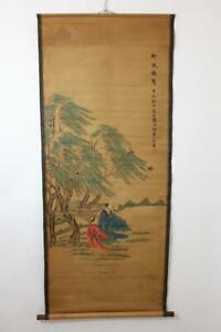 Altes-grosses-Rollbild-aquarellierte-Druckgrafik-Gelehrter-Kind-China