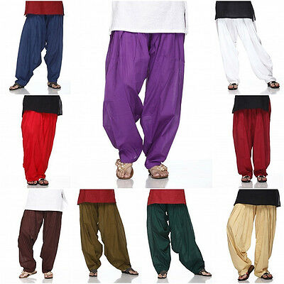 Plain PATIALA SALWAR Pants-Pure Cotton -MANY COLOURS- Kameez Kurti Tunic Yoga