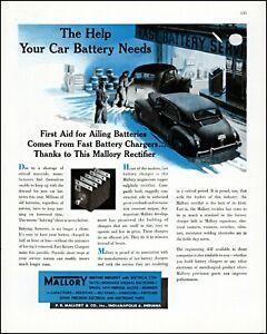 1947 Car batteries Mallory Garage Indianapolis vintage art Print Ad adL59