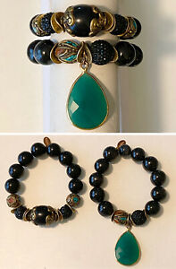 2pc-Lot-BuddhaLuv-Chunky-Bead-Stretch-Bracelets-Onyx-Turquoise-Coral-Brass-Glass