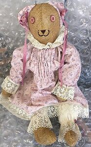Vintage 18 Inch Burlap Bear Hand Made Adorable