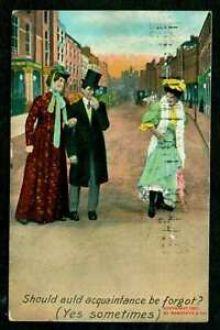 Details about COMIC POSTCARD STREET SCENE MAN & WIFE AND OTHER WOMAN 1908  POSTCARD